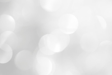 Brilliant white background with blurry circles. Template for a festive Christmas card.