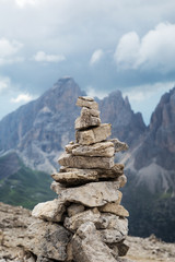 Fototapete - Staked stones  in Dolomites Alps. South Tyrol. Italy