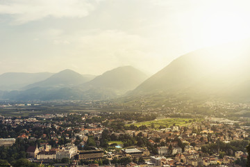 Wall Mural - sunset. beautiful view of the city of Merano (Meran), Italy, South Tyrol. Trentino-Alto-Adige