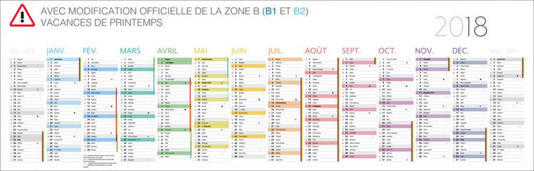 Calendrier 2018 / 14 mois - CS5 MODIFIABLE Dates zone B actualisées (B1, B2)