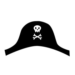 Pirate black hat icon with skull crossbones. Cute cartoon style. Skeleton body part. Template. Flat design. White background. Isolated.