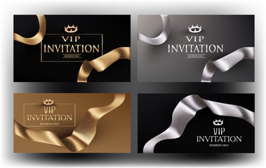 Set of gold and silver invitation cards with curly ribbons. Vector illustration