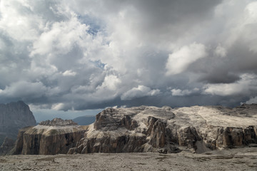 Wall Mural - cloudy day in Dolomites Alps. Passo Pordoi. South Tyrol. Italy