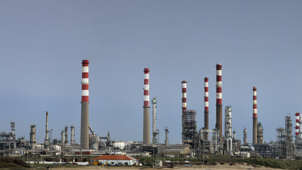 Part of a big oil refinery panorama