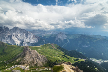 Wall Mural - beautiful panoramic view of  Italian Dolomites Alps. South Tyrol. Italy