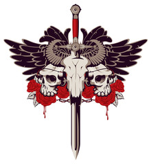 Vector emblem with a skull of a bull pierced by a sword and two human skulls with barbed wire on the background of a pentagram and red roses with drips of blood.