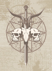 Vector emblem with a skull of a goat pierced by a sword and two human skulls and pentagram on the background of manuscripts