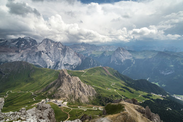 Fotomurales - beautiful mauntain landscape in Italian Dolomites Alps. Passo Pordoi. South Tyrol. Italy