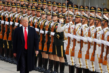 U.S. President Donald Trump takes part in a welcoming ceremony at the Great hall of the People in Beijing