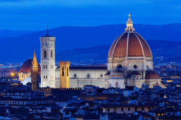 Florence Duomo. Basilica di Santa Maria del Fiore (Basilica of Saint Mary of the Flower) in night,  Florence, Italy