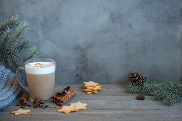 Winter latte coffee and cookies