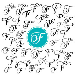 Set of Hand drawn vector calligraphy letter F. Script font. Isolated letters written with ink. Handwritten brush style. Hand lettering for logos packaging design poster. Typographic set on white