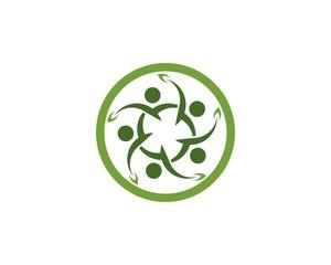 Health leaf people logo design