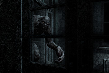 3d illustration of monster creature in haunted house Wall mural