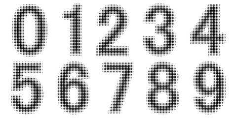 Halftone effect numbers. Dotted font vector. Dotted embossed numbers. Font Monochrome vector design