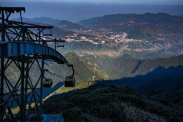 cable car hiking to fansipan mountain peak sapa lao cai northern of vietnam most popular traveling destination