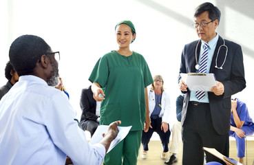 Group of medical people having a meeting