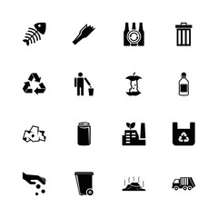 Garbage - Expand to any size - Change to any colour. Flat Vector Icons - Black Illustration on White Background.