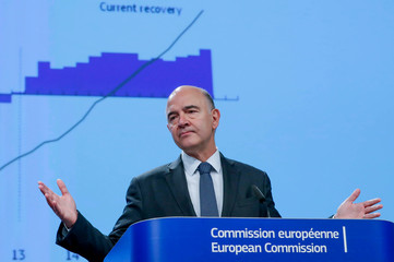 European Commissioner for Economic and Financial Affairs Moscovici presents the EU executive's autumn economic forecasts in Brussels