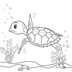 Turtle on the sea, illustration for coloring book