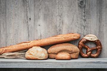 Fresh bread on a shelf