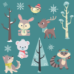 Winter Time Baby Animals Vector Set