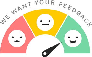 Feedback concept design, emoticon, emoji and smile, emotions scale