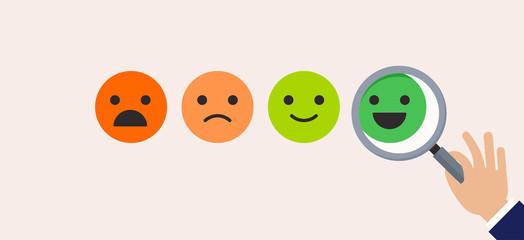 Feedback concept design, emoticon,emoji and smile, emoticons scale