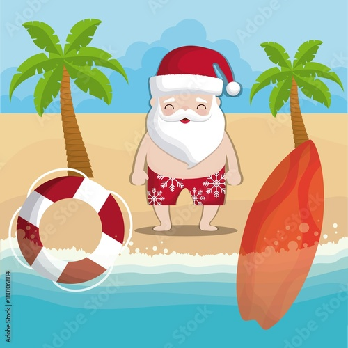 Cartoon Santa Claus On The Beach Colorful Design Vector