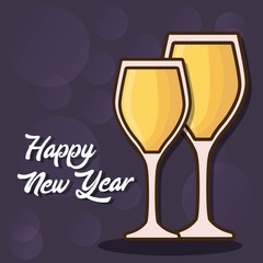 happy new year design with champagne glasses over purple background colorful design vector illustration