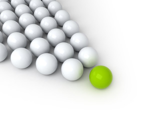 Leadership concept, green leader ball, standing out from the crowd on white background.