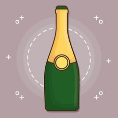 champagne bottle icon over purple background colorful design vector illustration