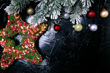 Christmas background with Christmas wreath like a star. Top view. Copy space. Flat lay.