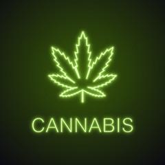 Marijuana leaf neon light icon