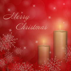 Christmas time. The second Advent with candle and Christmas landscape. Text : Merry Christmas.