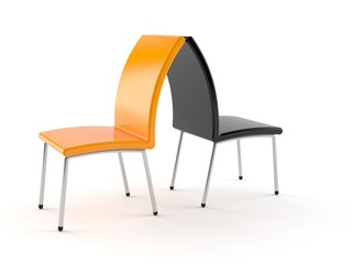 Black and orange chairs