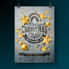 Vector Merry Christmas Party Design with Holiday Typography Elements and Ornamental Balls on Clean Background. Celebration Flyer Illustration. EPS 10.