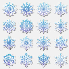 Separate Snowflakes Doodles icon Vector Rustic christmas clipart new year snow crystal illustration in flat style