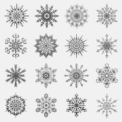 Separate Snowflakes Doodles icon black Vector Rustic christmas clipart new year snow crystal illustration in flat style