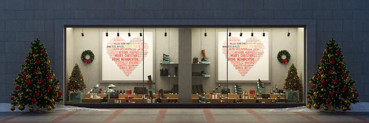 Schaufenster im Einzelhandel zu Weihnachten mit Dekoration