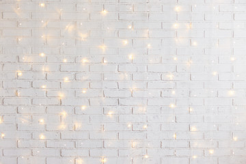 Printed roller blinds Brick wall white brick wall background with shiny lights