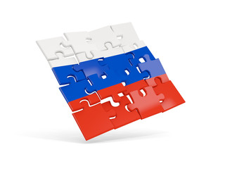 Puzzle flag of russia isolated on white