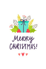 Christmas greeting card. Holiday gift and decorative plants. Vector illustration