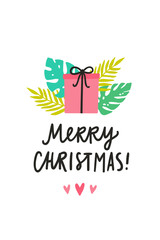 Christmas greeting card. Cute gift box and tropical leafs. Vector hand drawn illustration