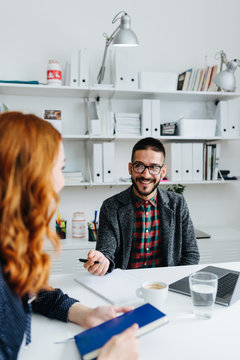 Human resources manager interviewing job candidate