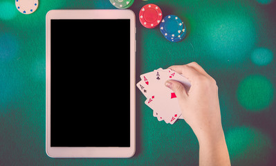 tablet pc over poker table