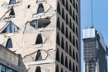 Mexico City damaged building after 2017 earthquake