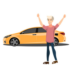 Happy smiling man with new car.