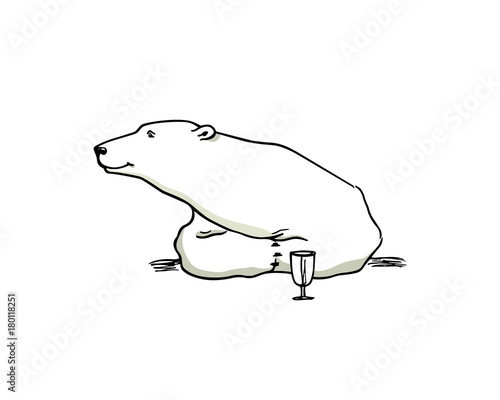Vector Card With Hand Drawn Polar Bear Stock Image And