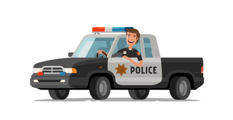 Happy sheriff rides in car. Police pickup truck. Cartoon vector illustration